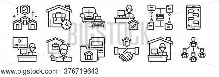 12 Set Of Linear Work From Home Icons. Thin Outline Icons Such As Teleworking, Shaking Hands, Workin