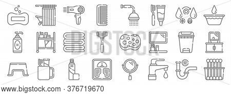 Bathroom Line Icons. Linear Set. Quality Vector Line Set Such As Cotton Swabs, Tap, Weight Scale, St