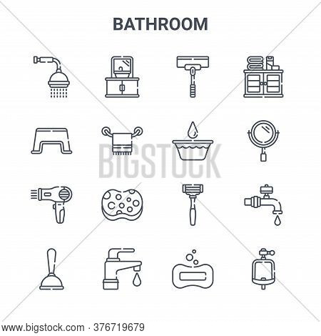 Set Of 16 Bathroom Concept Vector Line Icons. 64x64 Thin Stroke Icons Such As Sink, Stool, Mirror, R
