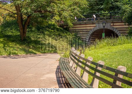 New York, Ny / Usa - July 24, 2019: Playmates Arch In Central Park