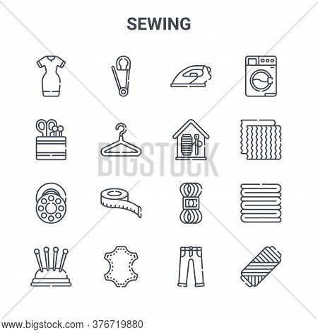 Set Of 16 Sewing Concept Vector Line Icons. 64x64 Thin Stroke Icons Such As Safety Pin, Sewing Tools