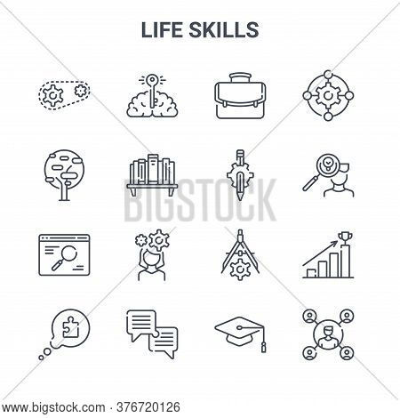 Set Of 16 Life Skills Concept Vector Line Icons. 64x64 Thin Stroke Icons Such As Brain, Tree, Man, D