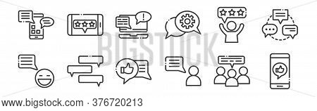 12 Set Of Linear Chatting And Communication Icons. Thin Outline Icons Such As Smartphone, Conversati