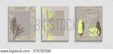 Abstract Trendy Vector Posters Set. Geometric Border Pattern. Hand Drawn Elegant Background. Cool Ol