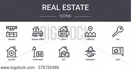 Real Estate Concept Line Icons Set. Contains Icons Usable For Web, Logo, Ui Ux Such As Moving Truck,