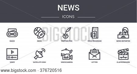 News Concept Line Icons Set. Contains Icons Usable For Web, Logo, Ui Ux Such As News, Voice Recorder