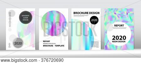 Holographic Gradient Vector Background. Hologram Minimal Light Covers Set. Iridescent Gradient Overl