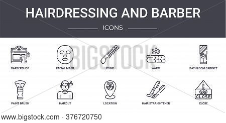 Hairdressing And Barber Concept Line Icons Set. Contains Icons Usable For Web, Logo, Ui Ux Such As F
