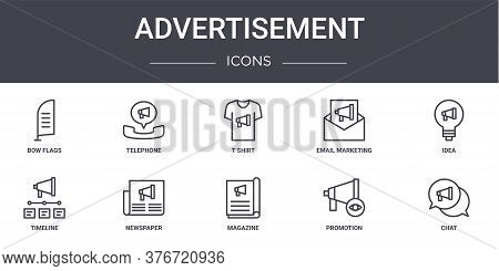 Advertisement Concept Line Icons Set. Contains Icons Usable For Web, Logo, Ui Ux Such As Telephone,