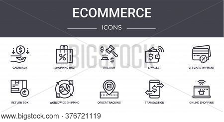 Ecommerce Concept Line Icons Set. Contains Icons Usable For Web, Logo, Ui Ux Such As Shopping Bag, E