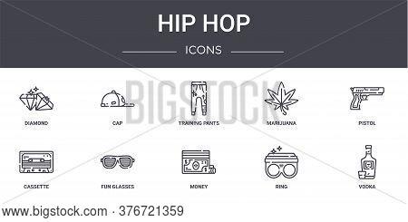 Hip Hop Concept Line Icons Set. Contains Icons Usable For Web, Logo, Ui Ux Such As Cap, Marijuana, C