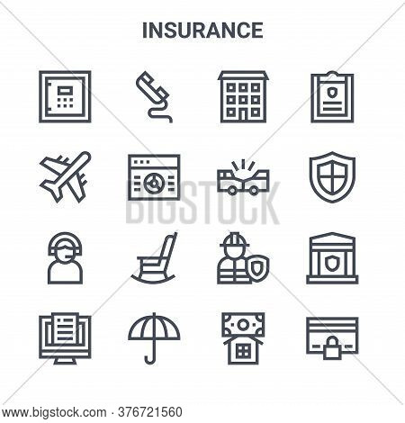 Set Of 16 Insurance Concept Vector Line Icons. 64x64 Thin Stroke Icons Such As Telephone, Plane, Shi