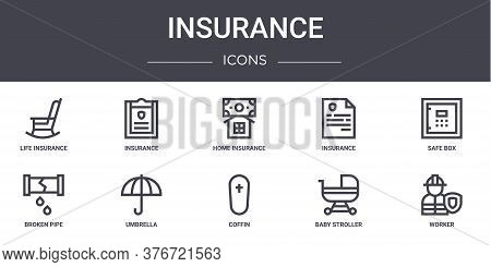 Insurance Concept Line Icons Set. Contains Icons Usable For Web, Logo, Ui Ux Such As Insurance, Insu