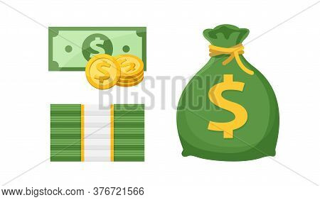 Dollar Money Stacks, Gold Medal Coin And Bag Money Isolated On White, Banknote And Medal Dollar
