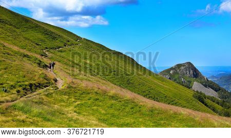 beautiful mountain landscape, hiking trail in Cantal- France