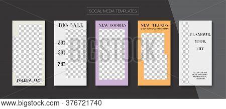 Modern Stories Vector Background. Blogger Hipster Cards, Social Media Kit Template. Online Shop Fash