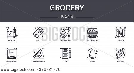 Grocery Concept Line Icons Set. Contains Icons Usable For Web, Logo, Ui Ux Such As Ticket, Watermelo