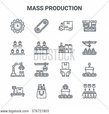 Set Of 16 Mass Production Concept Vector Line Icons. 64x64 Thin Stroke Icons Such As Automation, Wor