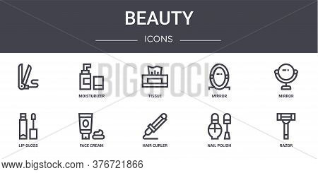 Beauty Concept Line Icons Set. Contains Icons Usable For Web, Logo, Ui Ux Such As Moisturizer, Mirro