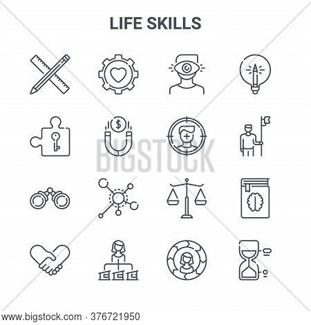 Set Of 16 Life Skills Concept Vector Line Icons. 64x64 Thin Stroke Icons Such As Gear, Puzzle Part,