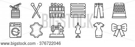 12 Set Of Linear Sewing Icons. Thin Outline Icons Such As Ribbon, Mannequin, Leather, Trousers, Need