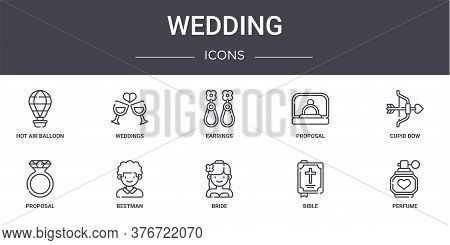 Wedding Concept Line Icons Set. Contains Icons Usable For Web, Logo, Ui Ux Such As Weddings, Proposa