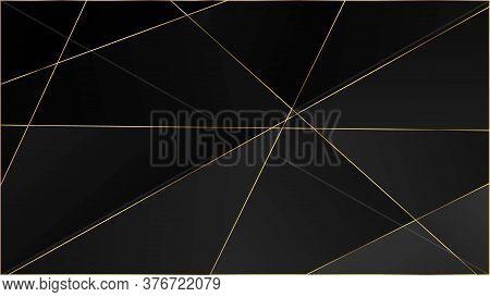 Black Premium Polygon Pattern. Gold Lines Triangular Luxury Banner. Elegant Dark Platinum Chic Shape