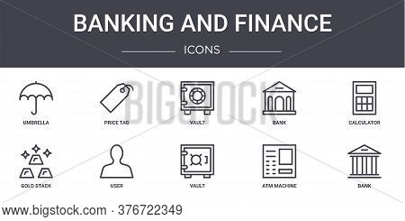 Banking And Finance Concept Line Icons Set. Contains Icons Usable For Web, Logo, Ui Ux Such As Price
