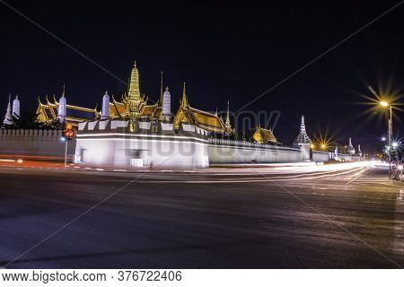 The Emerald Buddha Temple Or Wat Phra Kaew Landscape At Night. It Is A Historical Landmark Of Buddhi