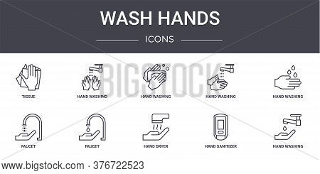 Wash Hands Concept Line Icons Set. Contains Icons Usable For Web, Logo, Ui Ux Such As Hand Washing,