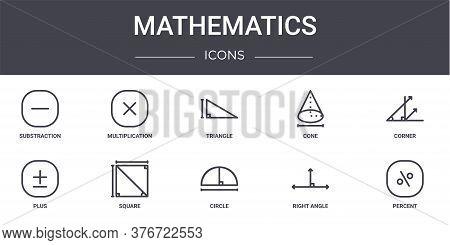Mathematics Concept Line Icons Set. Contains Icons Usable For Web, Logo, Ui Ux Such As Multiplicatio