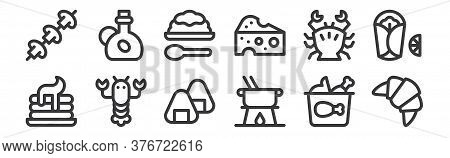 12 Set Of Linear Gastronomy Icons. Thin Outline Icons Such As Croissant, Fondue, Lobster, Crab, Rice