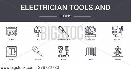 Electrician Tools And Concept Line Icons Set. Contains Icons Usable For Web, Logo, Ui Ux Such As G,