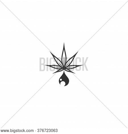 Cbd Hemp Oil Icon. Black Hemp Or Cannabis Leaf In Drop Or Driplet. Isolated On White.