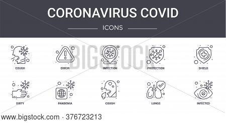 Coronavirus Covid Concept Line Icons Set. Contains Icons Usable For Web, Logo, Ui Ux Such As Error,