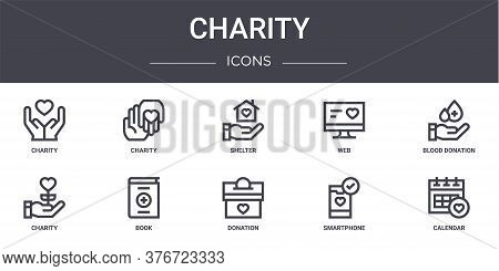 Charity Concept Line Icons Set. Contains Icons Usable For Web, Logo, Ui Ux Such As Charity, Web, Cha