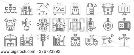 Internet Of Things Line Icons. Linear Set. Quality Vector Line Set Such As Street Light, Transport,