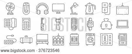 Electronics Line Icons. Linear Set. Quality Vector Line Set Such As Ebook, Washing Machine, , Plug,