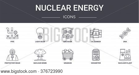 Nuclear Energy Concept Line Icons Set. Contains Icons Usable For Web, Logo, Ui Ux Such As Light Bulb