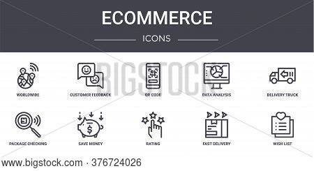 Ecommerce Concept Line Icons Set. Contains Icons Usable For Web, Logo, Ui Ux Such As Customer Feedba