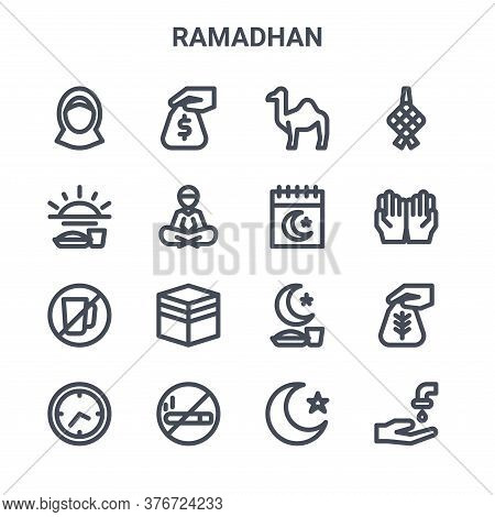 Set Of 16 Ramadhan Concept Vector Line Icons. 64x64 Thin Stroke Icons Such As Zakat, Fasting, Prayin