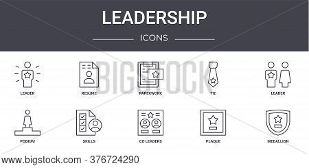 Leadership Concept Line Icons Set. Contains Icons Usable For Web, Logo, Ui Ux Such As Resume, Tie, P