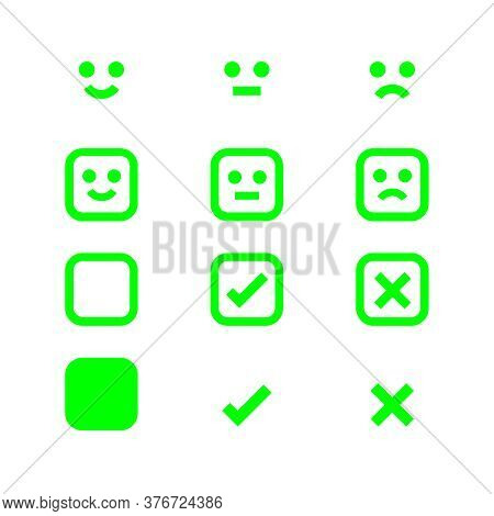 Green Glowing Icon Emotions Face, Emotional Symbol And Approval Check Sign, Emotions Faces And Check