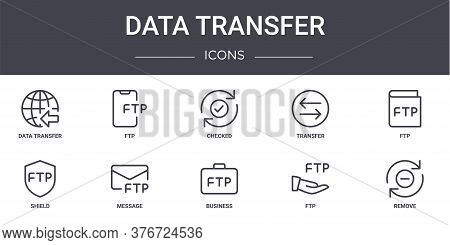 Data Transfer Concept Line Icons Set. Contains Icons Usable For Web, Logo, Ui Ux Such As Ftp, Transf