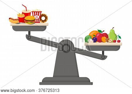 Healthy And Junk Food On Scales Vector Isolated