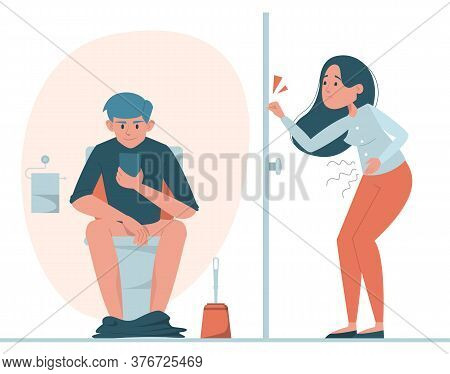 Man Sitting On Toilet With Mobile Phone