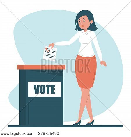 Woman Voting For A President Vector Isolated
