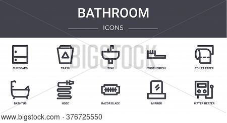 Bathroom Concept Line Icons Set. Contains Icons Usable For Web, Logo, Ui Ux Such As Trash, Toothbrus