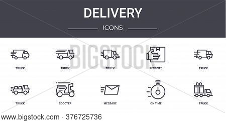 Delivery Concept Line Icons Set. Contains Icons Usable For Web, Logo, Ui Ux Such As Truck, Received,