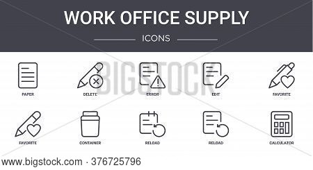 Work Office Supply Concept Line Icons Set. Contains Icons Usable For Web, Logo, Ui Ux Such As Delete